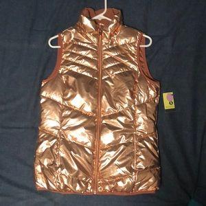 Metallic rose gold puffy vest